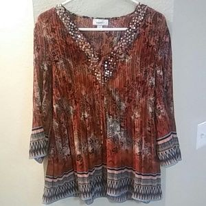 Dress Barn Sequined Boho Tunic Top Size L